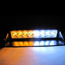 White / Amber Warning Caution Van Truck 8-LED Emergency Strobe Light Lamp Bar #7