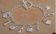 Ladies Silver Plated Handbag & High-Heels Design Bracelet