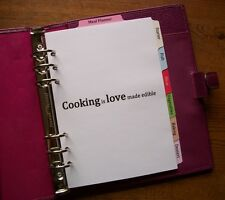 A5 Recipes - Meal Planner Laminated DIVIDERS - Fits FILOFAX