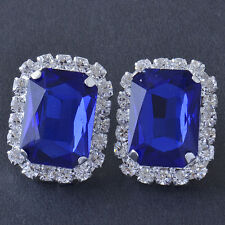 Silver Korean Jewelry White Gold Plated Blue Crystal Womens Square Stud Earrings