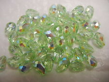 24 swarovski teardrop crystal beads,9x6mm chrysolite AB #5500