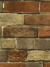 Wallpaper Smooth Faux Rust Tuscan Brick Wall, Looks Real Up!