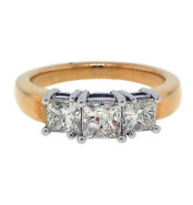 1.50ctw 3 PRINCESS CUT ENGAGEMENT RING 14K TWO-TONED