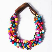 PASTEL COLOR HANDCRAFTED MULTI-STRAND GENUINE BEAD HORN STATEMENT NECKLACE