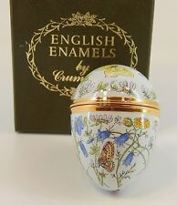 Crummles English Enamel Egg Box - Butterflies, Bees, Ladybug, and Wildflowers