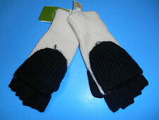 KATE SPADE COLORBLOCK POP TOP FINGERLESS GLOVES WOOL BLACK WHITE MITTENS $66 NW