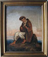 Popolano con liuto in riva al mare bell Olio su tela cm 48x38 Italia Inizio '800