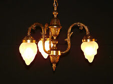 Petite Antique French Art Nouveau Flame Globe Brass 3 Lite Chandelier