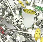 """14g 5/8"""" Mixed Logo Tongue Ring Jewelry Pictures & Words - Price Per 10"""