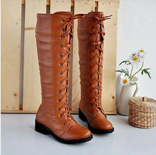 fashion women lace up knee length faux leather cosplay low heel boots shoes A147