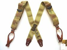 New Ralph Lauren RRL Camo Green Brown Leather Trim Suspenders Braces