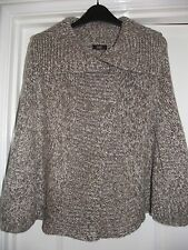 F&F Ladies Brown Mix Knitted Cape Jumper Poncho (small) 10-12