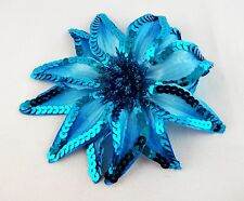 Blue sequin flower hair clip ponytail holder pin