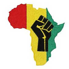 Africa Black Power Fist Rasta Rastafari Embroidered Iron On Applique Patch