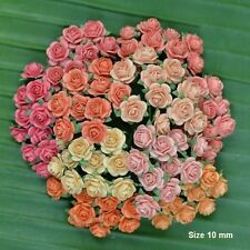100 Mixed Mulberry Paper Artificial Rose Head Flowers Peach Color 10mm/ 0.4 inch
