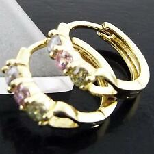 AN973 GENUINE REAL 18K YELLOW G/F GOLD PINK SAPPHIRE AMETHYST SPINEL EARRINGS