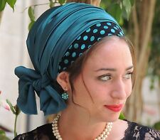 Deep Ocean Stretched SATIN SINAR Tichel Hair Snood Jewish headcovering Chemo Hat