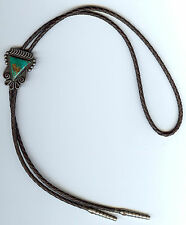 VINTAGE NAVAJO INDIAN SILVER TRIANGLE TURQUOISE BOLO TIE