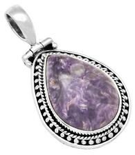 27cts.Huge Russian Charoite Pendant Solid 925 Silver Jewelry IP30149