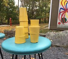 8 Vintage 1960s YELLOW MELMAC tumblers US army NAVY MESS HALL Retro PICNIC cups