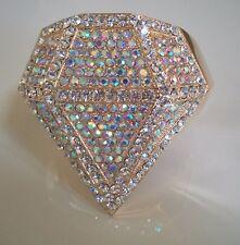 Elegant 1PC Fashion Gold Finish Iridescent Crystal Lady's Cuff Bangle Bracelet