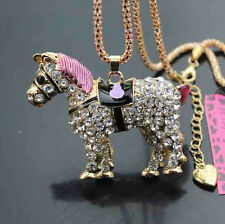 D626  Betsey Johnson Bling Crystal Enamel Horse Pendant Sweater Chain Necklace