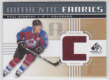 "Paul Stastny 2011 11/12 SP Game Used authentic fabrics gold ""C"" Avalanche"