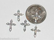2 Pc Miniature dollhouse tiny finding Flatback crystal angel Clear CROSS  8x10mm