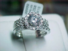 925 STERLING SILVER 3 RING HALO SIMULATED DIAMOND ROUND WEDDING SET SIZE 7