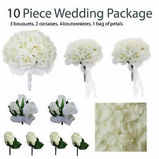 10 Piece Wedding Package - Silk Wedding Flowers - Ivory Rose Bridal Bouquets