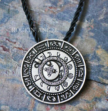 Antique Silver Plt Lunar Phase Talisman Pendant Necklace Moon Pagan Wiccan Gift