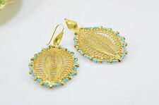 OttomanGems semi precious gem stone gold plated Filigree earrings handmade