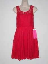 NWT - BETSEY JOHNSON Lace Overlay Dress, Red, Size 2, MSRP $118