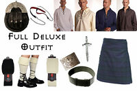 8 Yard Scottish Kilt Package, Complete Deluxe Casual Outfit, Black Watch Tartan