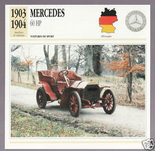 1903-1904 Mercedes 60 hp (Benz) German Car Photo Spec Sheet Info French Card