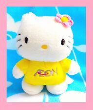 "8"" Hello Kitty Aeon Yellow Costume Pink Flower Plush Stuffed Doll with Harness"