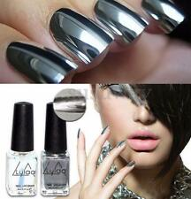 2Pcs/Set Chrome Nail Polish Silver Magic Mirror Effect Laquer New Varnish Shiny