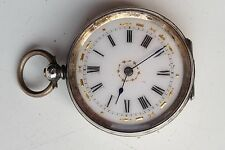 ANTIQUE ORNATE KEY WOUND SOLID SILVER ENAMEL DIAL HINGED 38mm POCKET WATCH
