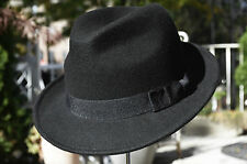Classic Fedora 100% Wool Crushable Trilby Stingy Brim Dress Derby Hat Cap Black
