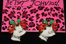 BETSEY JOHNSON BEAUTIFUL WHITE RED AND GREEN ENAMEL BELL CHRISTMAS EARRINGS