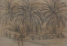 Südliche Straße mit Palmen und Personen,um 1920,Impressionist,Purrmann