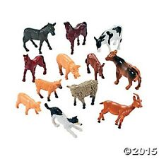 12 Mini Farm Animal Theme Cake Toppers Kids Birthday Party Favors Toys Gifts