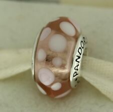 Authentic Pandora 790694 Pink Bubbles Retired Murano Glass Silver Bead Charm
