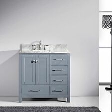 "Caroline Avenue 36"" Single Bathroom Vanity Grey with Marble Top and Square Sink"