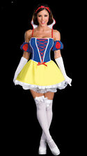 New Adult Ladies Fairytale Snow White Dress Halloween Party Costume + Headwear