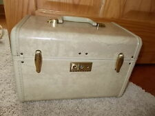 RETRO! Vintage Samsonite Streamlite Cream Marbled Cosmetic Travel Train Case NR
