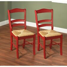 Ladder Back Chairs Dining Rush Seats Red Kitchen Wood Antique Style Set Of 2 NEW