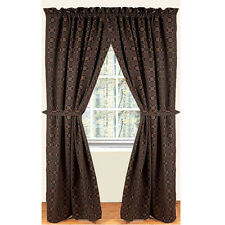 """New Primitive Colonial Black Mustard LOVER'S KNOT Curtain Drapes Panels 63"""""""