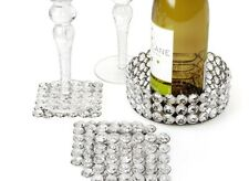 Z Gallerie Bling Crystal Glass Coasters, Set of 8, & 1 Wine Bottle Table Holder