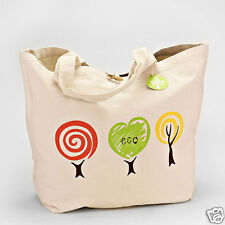 Oversized Eco Cotton Natural Linen Tote Shopping Bag Bag Go Green Tree Flower